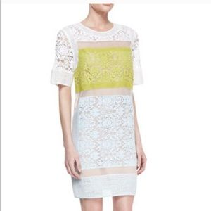 Rebecca Taylor Neon Lace Paneled Shift Dress